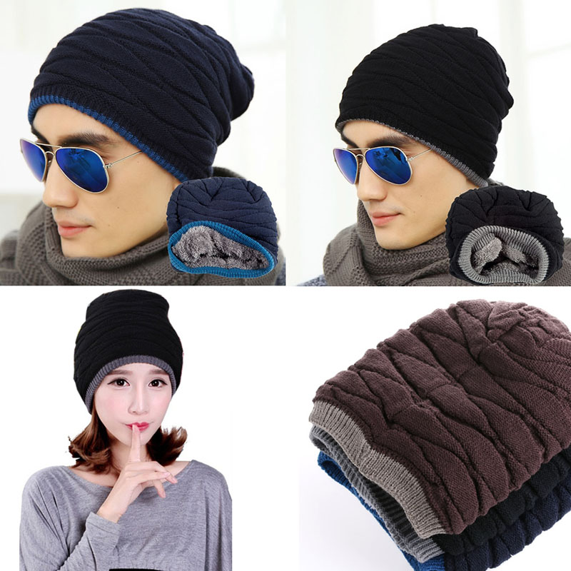 Hombres Mujeres crochet knit plicate baggy Beanie lana Blend ...