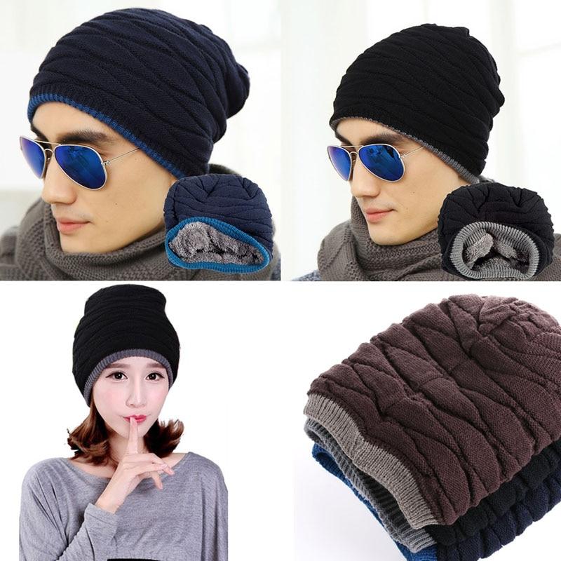 Hommes Femmes Crochet Knit Plicate Baggy Beanie Laine Mélange Chapeau Crâne  Hiver Chapeau Chaud chapeau de mode 0f963c2391fb