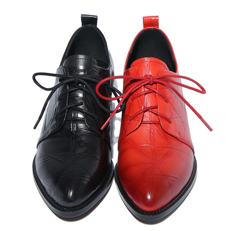 Plus Size 34-42 Genuine Leather Woman Lace-Up Flats Square Toe Handmade Creepers Oxford Shoes For Women Square heel Casual Shoes qmn women genuine leather platform flats women brushed leather height increasing brogue shoes woman square toe creepers 34 42