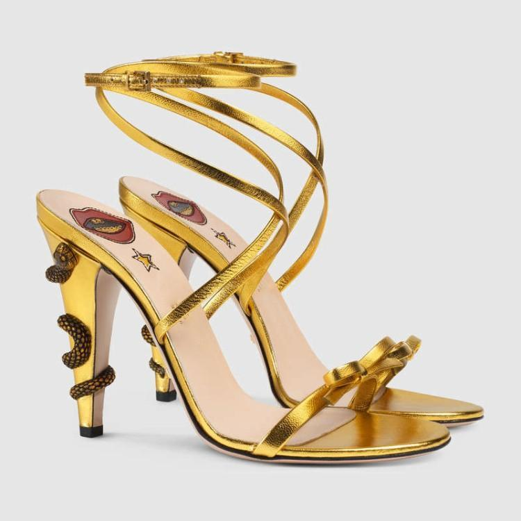 US4-11 Womens Peep Toe Snake Decor Gold Ankle Straps Stilettos High Heel Pumps Shoes Buckle Slingbacks Sandals Plus Size