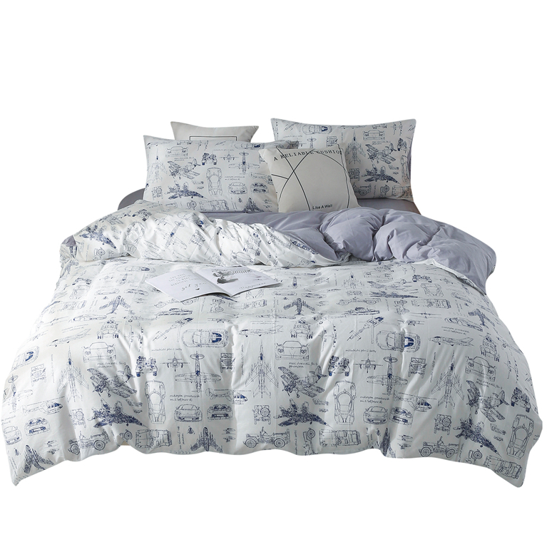 Small plane big dreamer print sheet pillowcase and duvet cover sets cotton bedlinen double queen king