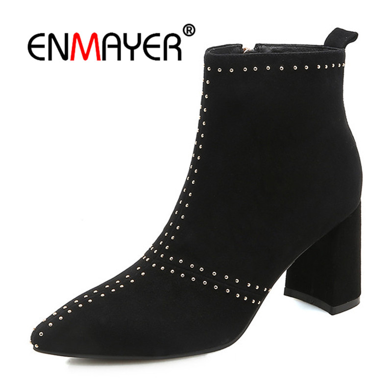 ENMAYER Women Ankle Boots Size 34-39 Causal High Heels Thick Heels Fashion Boots Square Toe Shoes woman Zip Buckle strap CR1162 women fashion boots round toe super high thick heels knee high buckle decoration ankle strap women snakeskin designer boots
