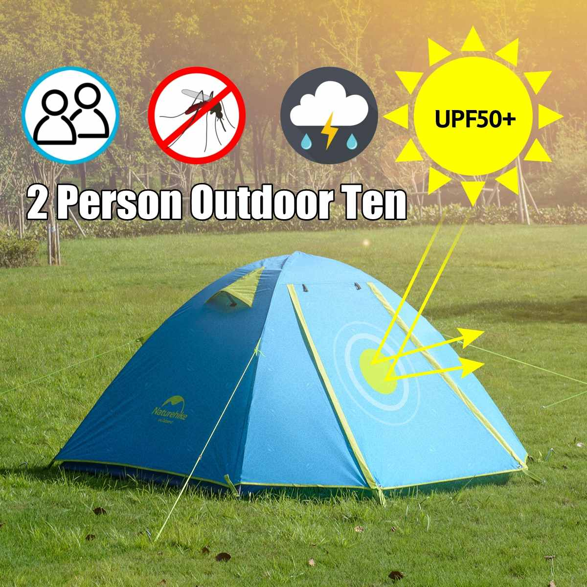 2 Person  PU2000mm Waterproof Camping Tent UPF50 UV Protection Beach Tent for Family  Hiking Climbing Self-Driving Tour Outdoor2 Person  PU2000mm Waterproof Camping Tent UPF50 UV Protection Beach Tent for Family  Hiking Climbing Self-Driving Tour Outdoor