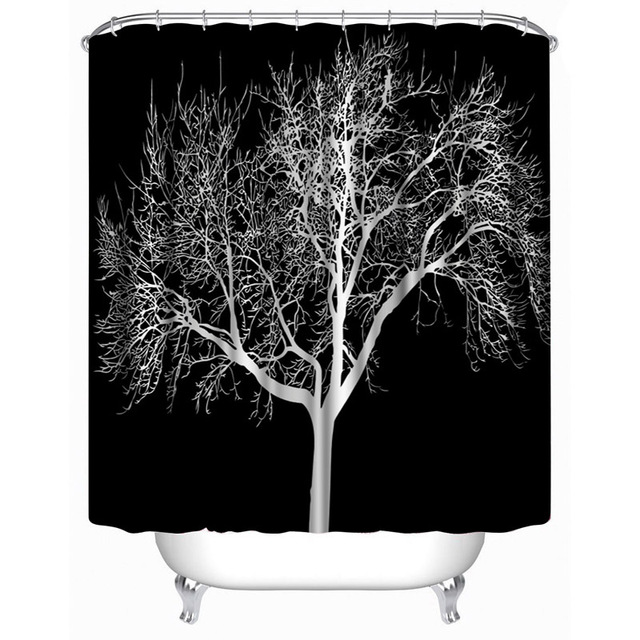 Art White Tree Print Waterproof Black Shower Curtain Include 12 Pcs