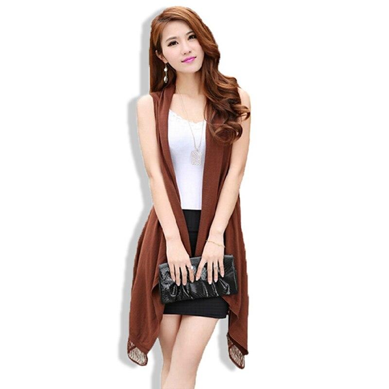 2d2c521ed7f08 Summer Elegant Hollow Tassel Sleeveless Cardigan 2016 Women Casual Long  Sweater Vest Irregular Knitted Jacket Plus Size poncho