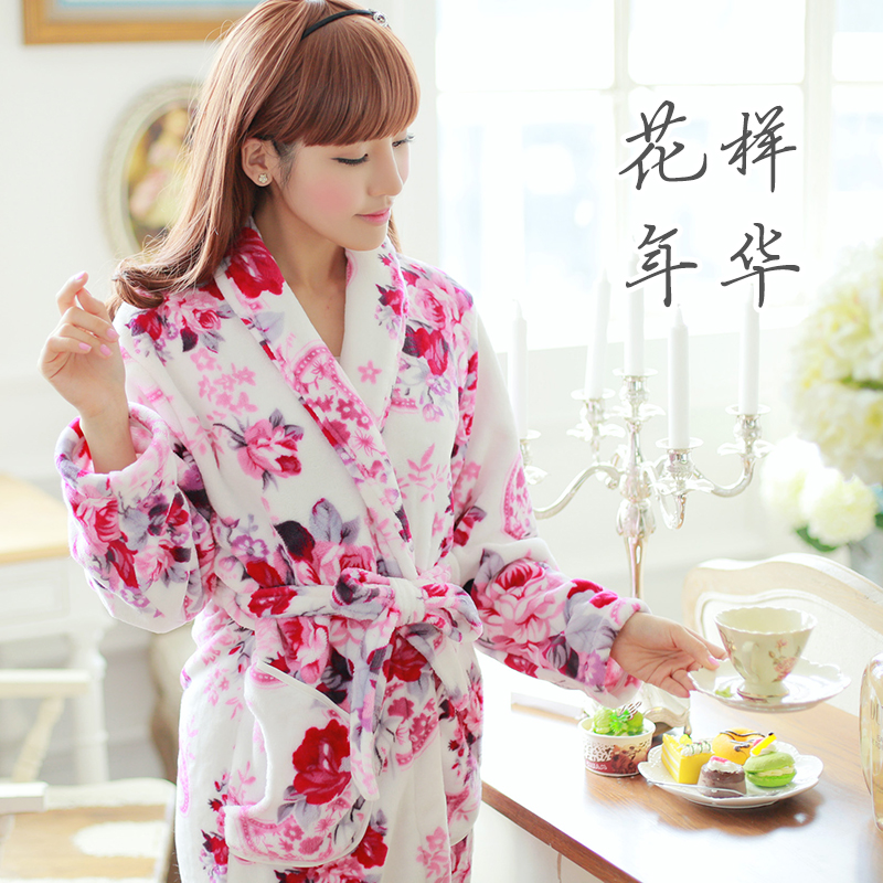 Elegant coral fleece robe female flannel autumn winter long-sleeve japanese style lacing bathrobes - general merchandise factory store