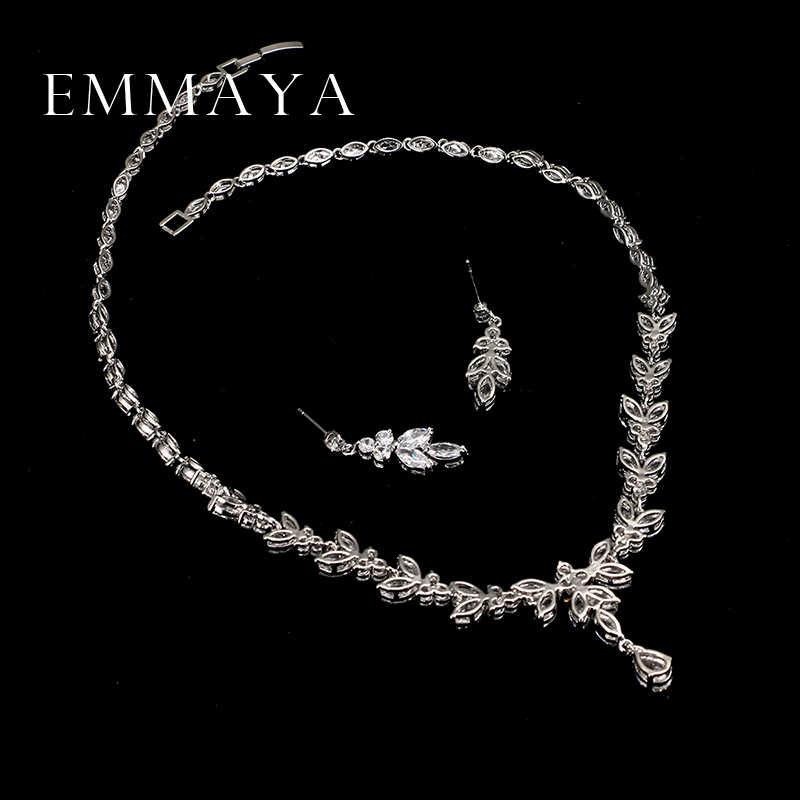 Emmaya高級クリスタルジルコンウェディングジュエリーセットアフリカジュエリーセットchokerネックレスイヤリング用女性送料無料