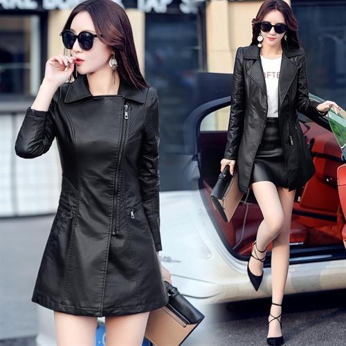 Fashion women's large size new spring women's leather jacket
