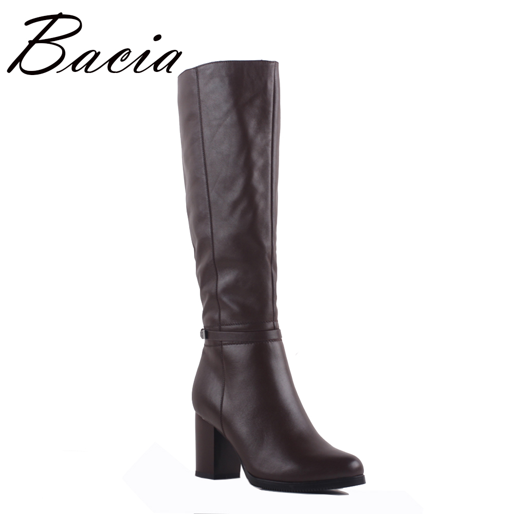 Bacia Boots Genuine Leather Knee-High Boots Round toe 8cm Heel Woman Casual Shoes With Warm fur Winter Boots Handmade Shoe SA076 nayiduyun new fashion thigh high boots women genuine leather round toe knee high boots high heel party pumps casual shoes