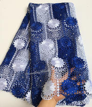 ca8848180277 Blue White sunflowers embroidery cord lace African guipure lace fabric with  lots of stones beads 7262