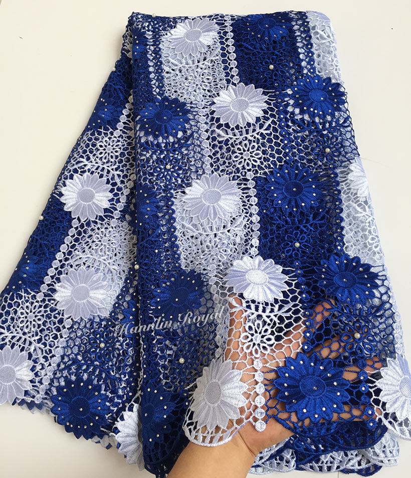 Blue White sunflowers embroidery cord lace African guipure lace fabric with lots of stones beads 7262 high quality Wise choice