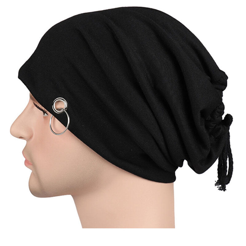 New Fashuion Monochrome iron ring head cap men and women Europe and America spring  autumn hip hop turban hoops heap hat