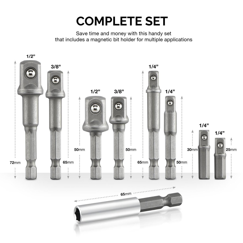Hot sale Hex Shank to Square Drive Socket Adapter Bit Bar Set, 9 ...
