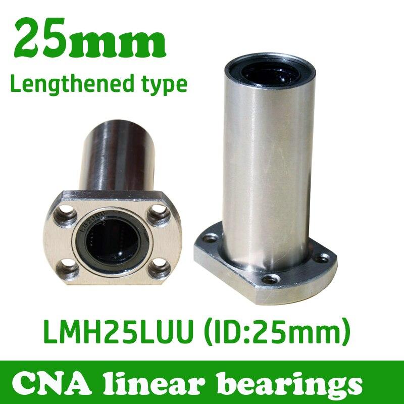 2pcs/lot LMH25LUU 25mm long type flange linear bearing CNC Linear Bush Free shipping free shipping 12pcs lot lm6uu 6mm 6mmx12mmx19mm linear ball bearing bush bushing cnc 6x12x19mm