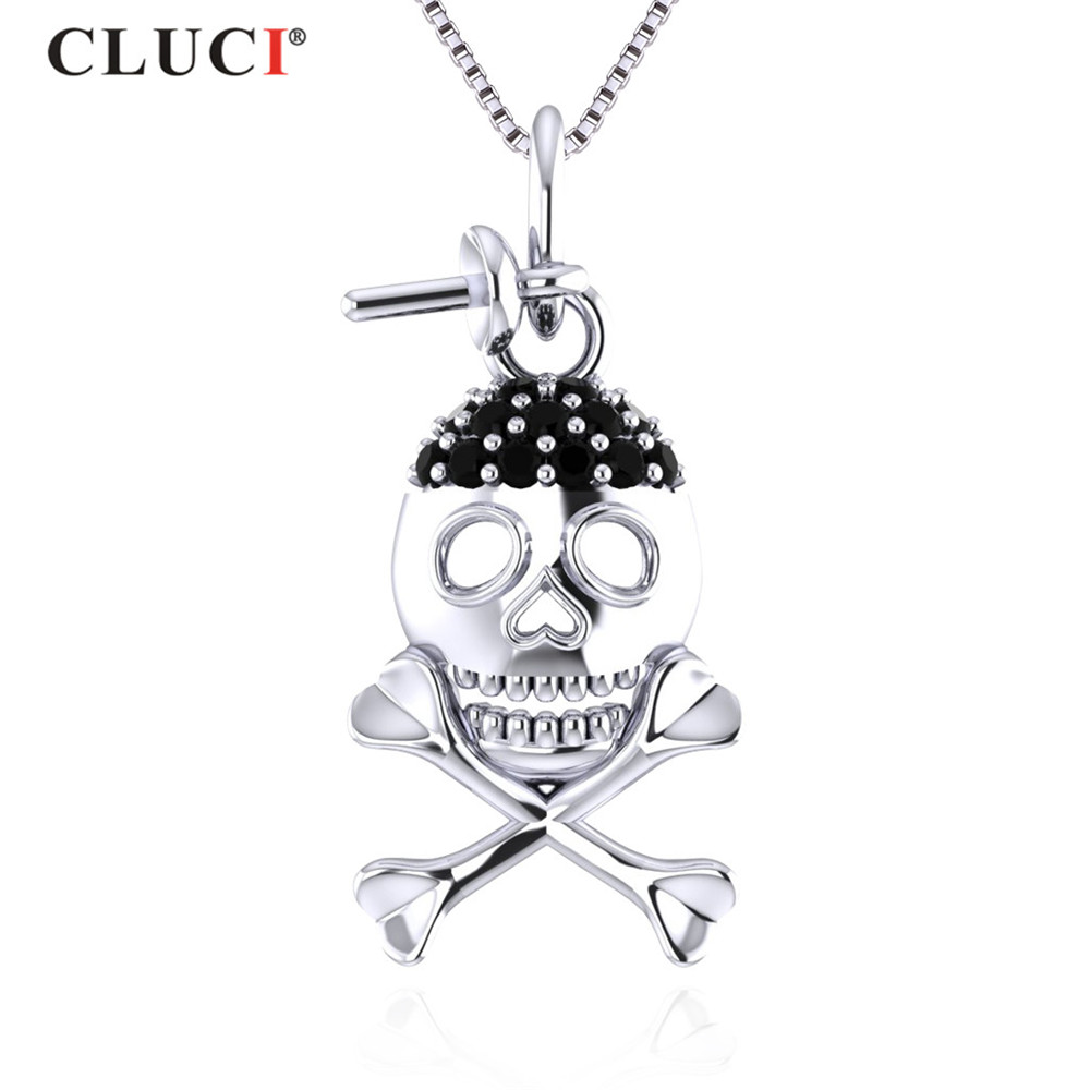 CLUCI New Design Halloween 925 Steling Silver Skeleton 7mm Pearl Pendant & Necklace For Women Fine Jewelry Accessories