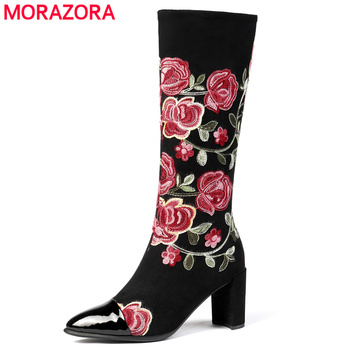 MORAZORA 2020 Fashion Brand knee high boots women genuine leather flock embroider high heels boots party wedding shoes ladies