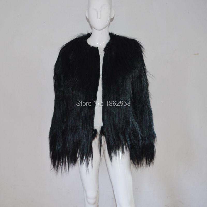 Gros La Fourrure Mode À Manteau Sj504 De Noir Hiver 01 Chèvre En Femmes SZqffa