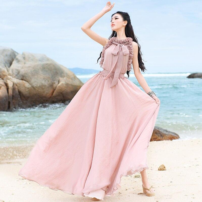 Sottile Lynette Dell'annata 's Dalla Rosa Donne Volant bianco Estate Di Colore Chinoiserie Vestito Spiaggia Allacciatura 2017 ASqA7