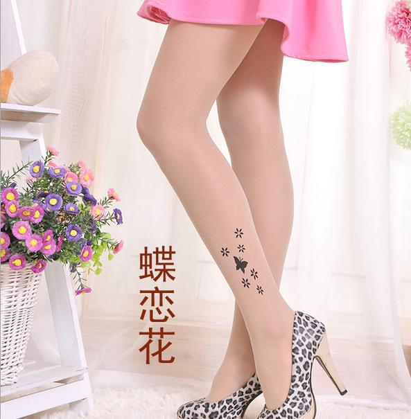 KL90 Hot fashion stockings women sexy black pattern jacquard pantyhose female invisible open crotch tights
