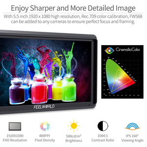 Image 4 - FEELWORLD FW568 5.5 inch  4K HDMI On Camera Field DSLR Monitor Small Full HD 1920x1080 IPS Video Focus + NP750 Battery + Charger
