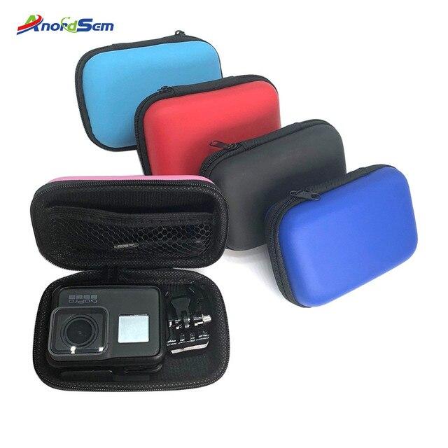 Anordsem 5 צבע מיני תיק נייד עמיד הלם תיבת אחסון עבור GoPro Hero8 Hero7 5 6Hero2018 יי 4k מצלמה Mounts אביזרי מקרה