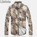 Мужчины Leopard Набивным Рисунком Рубашки Повседневные Slim Fit С Длинным Рукавом Блузки Новый Большой Размер М-5XL Homme Camiseta Masculina K52