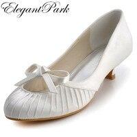 หวานรองเท้าผู้หญิงEP2057ไอวอรี่อัลมอนด์นิ้วเท้าซาตินกุทัณฑ์ต่ำส้นตอน