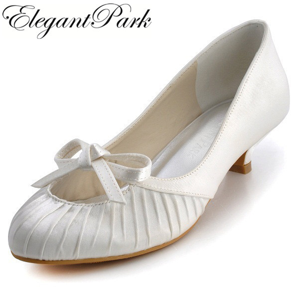 3d288d4bcecf Sweet Woman Shoes EP2057 Ivory Almond Toe Satin Bowknot Low Heel Bridal  Evening Party Wedding Flat Shoes Women s Wedding Shoes