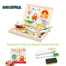 DIY Wooden Magnetic Sticker Blocks Early Childhood Educational Toys Forest Animal Puzzle Enlightenment Toy For Children DOLLRYGA