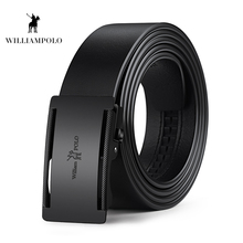 WILLIAMPOLO 100% Genuine Leather Belt for Men Business Metal Automatic Buckle Belts Cowskin Waistband Strap PL18404-06P