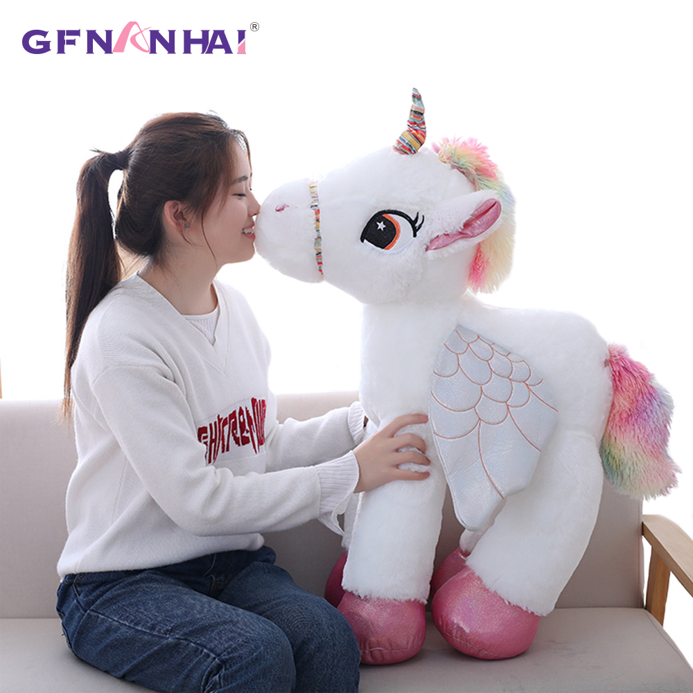 1pc 50/60/90cm big size cute unicorn plush toy stuffed soft kawaii animal horse nap pillow birthday gift for children girls kawaii big stuffed