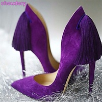 new product women purple yellow suede pumps super thin high heel pointed toe tassel shoes graceful back fringe party footwear