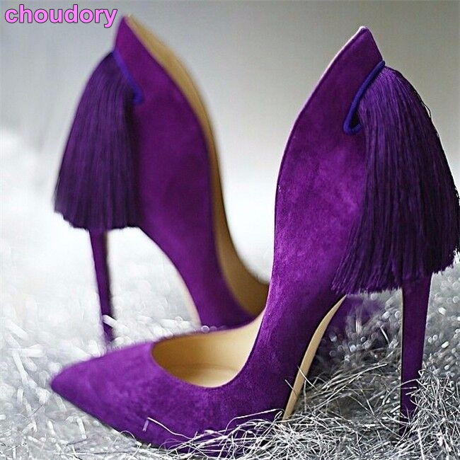 new product women purple yellow suede pumps super thin high heel pointed toe tassel shoes graceful back fringe party footwear mce sports mens watches top brand luxury genuine leather automatic mechanical men watch classic male clocks high quality watch