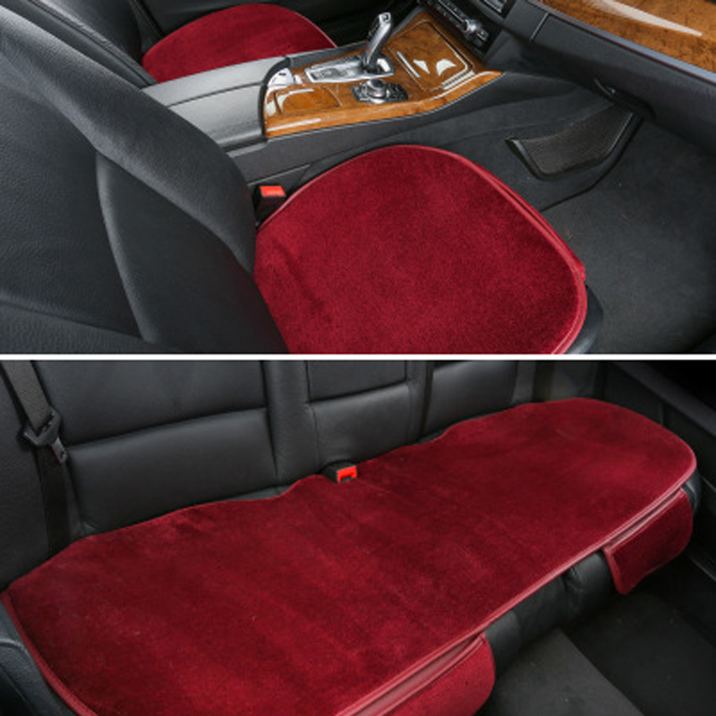 Pure Wool Car Seat Protector Mats Black Front Back Rear Seats Covers Sets Universal Size Auto Interior Cushion For Winter
