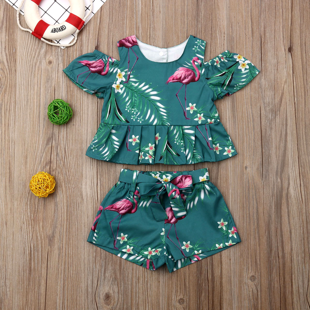 Emmababy New Brand Toddler Kids Baby Girls Summer Outfits Clothes T-shirt  Shorts  2PCS Set