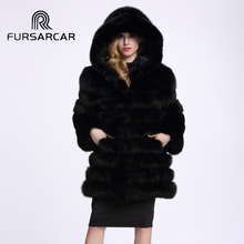 FURSARCAR Real Fur Coat Women 2017 Fashion Winter Thick Russian Fox Fur Fur Overcoat Medium Long Casaco Feminino With Hood C112