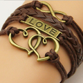 Hot Sales Love Heart To Heart Vintage Handmade Multilayers Leather Bracelets For Woman Mom Bracelets Fashion Infinity Jewelry