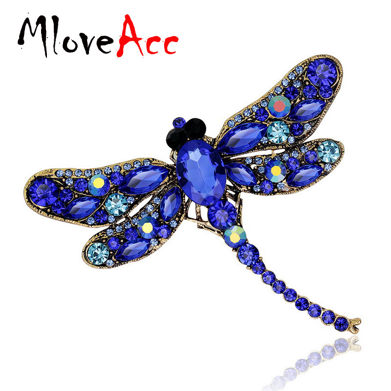 MloveAcc Dragonfly Broches Corsages Smykker Skinnende Crystal Vintage Broche Crystal Big Broches Tørklæde Hijab Pins Up