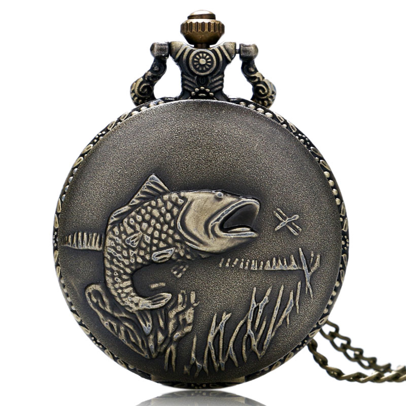 Hot Sale Bronze Fishing Theme Quartz Pendant Pocket Watch With Necklace Chain For Fisher Anglers