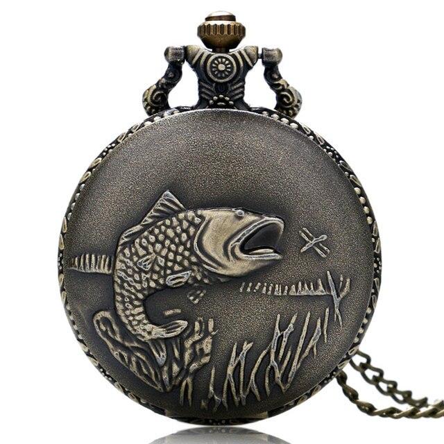Hot Sale Bronze Fishing Theme Quartz Pendant Pocket Watch With Necklace Chain Fo
