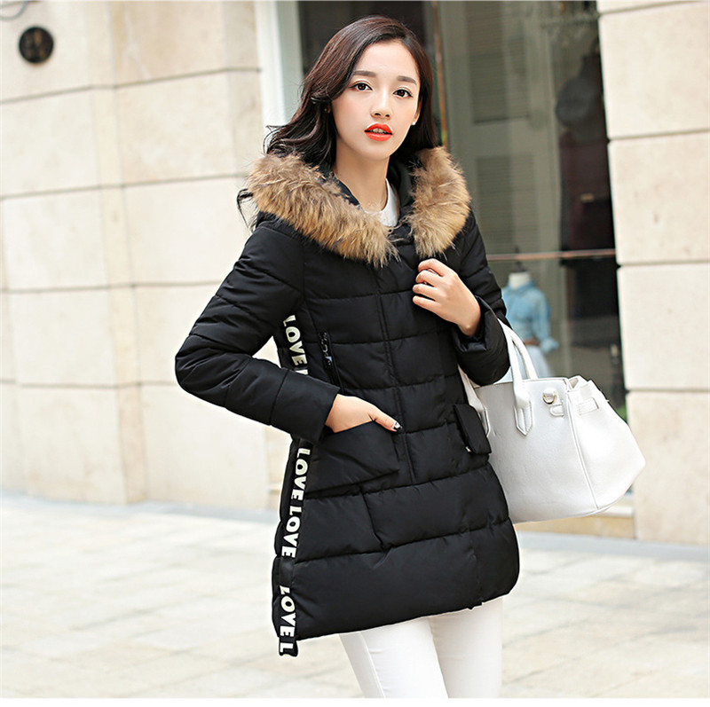 ФОТО Women Winter Coat Female Warm Jacket Long Section Down Cotton Padded Jacket Fur Collar Hooded Warm Parka Overcoat TT213