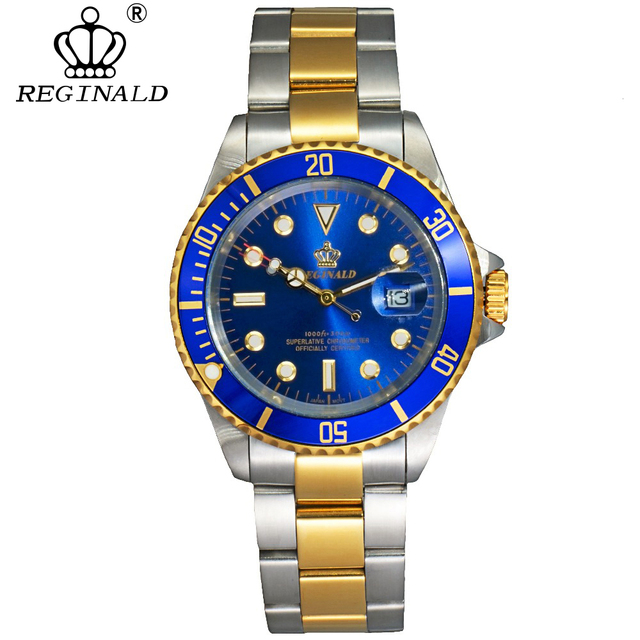 REGINALD Men's Rotatable Bezel Sapphire Glass Waterproof Full Steel Fashion Quartz Watches