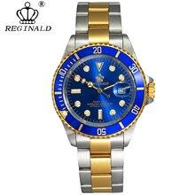 REGINALD นาฬิกาผู้ชาย Rotatable BEZEL GMT Sapphire Glass 50 M น้ำเต็มรูปแบบกีฬาแฟชั่นสีน้ำเงิน dial ควอตซ์นาฬิกา Reloj hombre