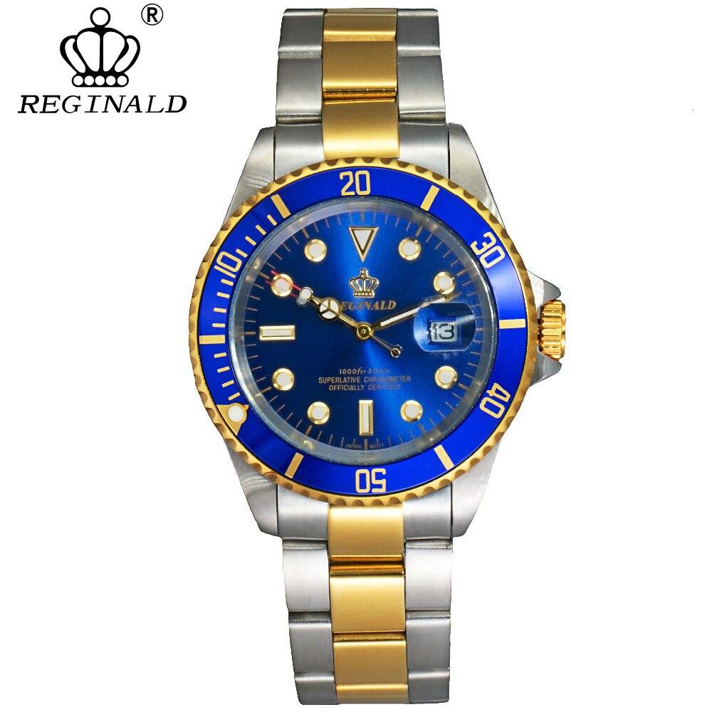 REGINALD Uhr Männer Drehbare Lünette GMT Sapphire 50 mt Wasser Edelstahl Sport Mode blau zifferblatt Quarzuhr Reloj Hombre