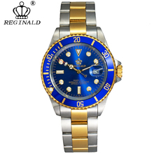 Reginald relógio masculino de pulso, giratório, slim el fecho de vidro de safira, 50m, água, cheia de aço, esportivo, moderno, mostrador azul, relógio de quartzo homem