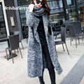Fashion 2017 Autumn Winter Women Long Knitted Cardigan With Neck Warmer Long Sleeve Long Sweater Cardigans Knitwear MY6100-L