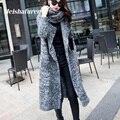 Moda 2017 Mujeres Del Invierno Del Otoño Largo Cardigan de Punto Con Calentador de Cuello Largo Suéter de Manga Larga Cardigans Knitwear MY6100-L