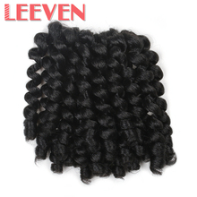 Leeven 8'' 75g Jumpy Wand Curl Twist Crochet Braid Jamaican Bounce African Synthetic Braiding Hair High Temperature Fiber(China)
