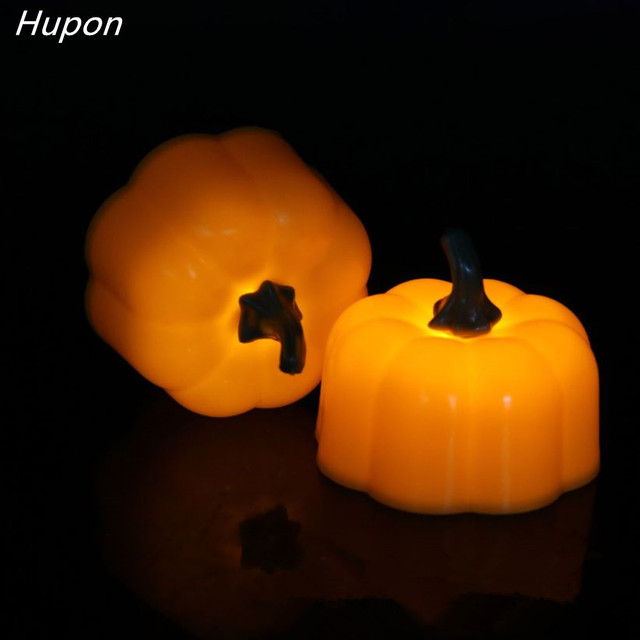 6pcs Mini LED Candle Light Battery-Powered Fake Pumpkin Lantern Yellow Flameless Candles for Holiday Halloween Party Decorations