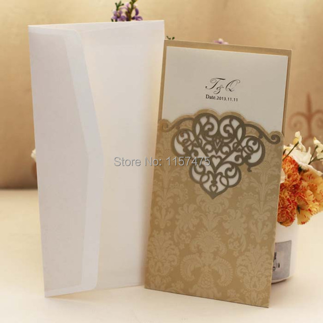 Hi7004 Hot Pocket Cards Gold Light Brown Wedding